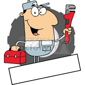Handyman Carrying A Wrench And Tool Box Banner clipart. Royalty-free image # 379058
