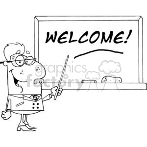 School Professor Displayed On Chalk Board Text Welcome! clipart. Commercial use image # 379063