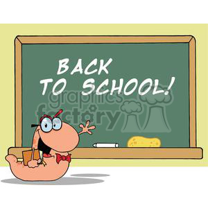 Waving Bookworm Student In Front Of School Chalk Board With Text Back to School!