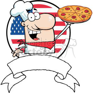 Chef Holds Up Pizza In Front Of Flag Of USA Banner