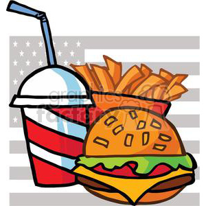 Cheeseburger Drink And French Fries In Front Of A USA Flag clipart. Commercial use image # 379083