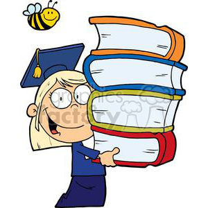 Graduation Blond Girl Carrying Four Books In Her Hands clipart. Commercial use image # 379088