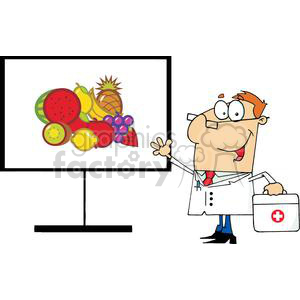Male Doctor Shows Board Beneficial Foods clipart. Commercial use image # 379093