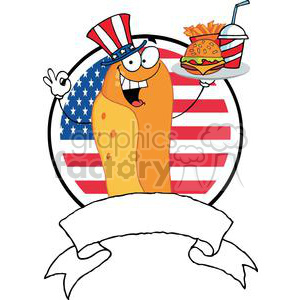 Banner Of A Hot Dog Cook Holder Plate Of Hamburger And French Fries In Front Of Flag Of USA clipart. Royalty-free image # 379098