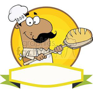 Banner Of A Hispanic Bread Baker Man clipart. Royalty-free image # 379103