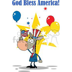 Patriotic Donkey Waving An American Flag On Independence Day clipart. Royalty-free image # 379108