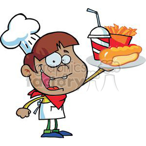 Fast Food African American Boy Chef Holding Up Hot Dog Drink And French Fries On A Platter clipart. Commercial use image # 379113