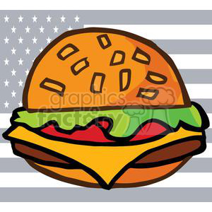 A Loaded Cheese Burger In Front of The USA Flag clipart. Royalty-free image # 379123