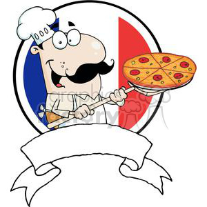 A Banner of A Pleased Chef Inserting A Pepperoni Pizza In Front Of Flag Of France clipart. Royalty-free image # 379128
