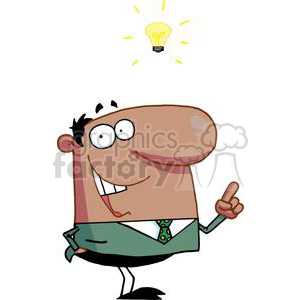 An African American Businessman Has A Light Bulb Moment clipart. Royalty-free image # 379133