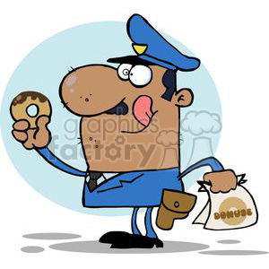 a very happy african american police officer eating a donut licking his lips in front of a blue background