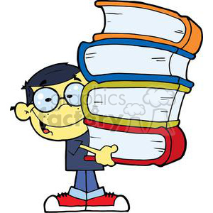 Asian Boy With Books In Their Hands clipart. Royalty-free image # 379163