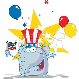 Patriotic Republician Elephant Waving An American Flag On Independence Day With Stars and Balloons in Background