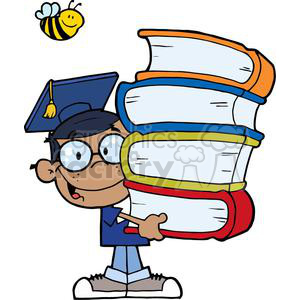 Graduation African American Boy With Books In Hands With a Bee Flying Above clipart. Commercial use image # 379178