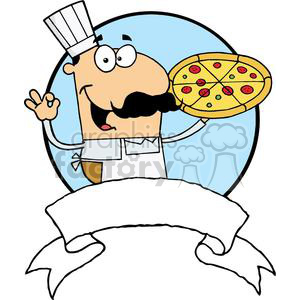 Pleased Male Pizza Chef With His Perfect Pepperoni Pizza Pie Banner clipart. Commercial use image # 379183