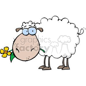 A White Sheep With A Yellow Flower In Mouth