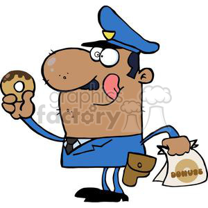 happy african american cop eating a donut while clutching a bag of doughnuts