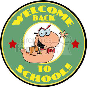 Waving Bookworm With Text Back to School!In Green and Yellow Circle clipart. Commercial use image # 379198