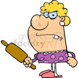 angry wife with a rolling pin
