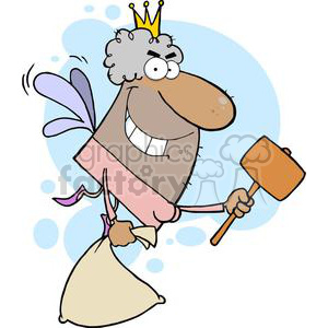 African American Tooth Fairy Flying With A Mallet And Bag In Front Of A Blue Background