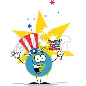 Globe with American Patriotic Hat And Flag clipart. Commercial use image # 379238