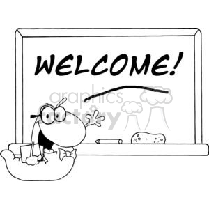A Chalk Board with Welcome Written On It and A Bookworm Waving   clipart. Royalty-free image # 379243