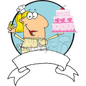 Cartoon Cake Baker Woman With Banner clipart. Royalty-free image # 379248