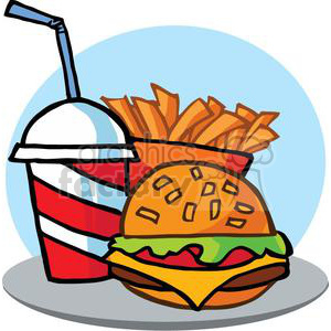 Hamburger Drink And French Fries On A Tray and Blue Background clipart. Commercial use image # 379263