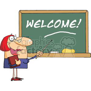 Woman Teacher With A Pointer Displayed On Chalk Board Text Welcome!
