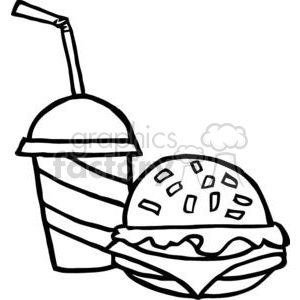 Chesseburger-And-Drink clipart. Commercial use image # 379273