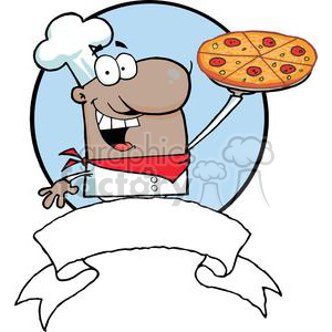 Cartoon African American Proud Chef Holds Up Pizza Banner clipart. Commercial use image # 379278