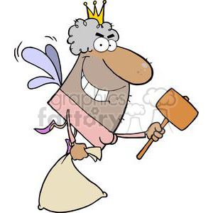 African American Tooth Fairy Has An Evil Grin Flying With A Mallet And Bag clipart. Royalty-free image # 379283