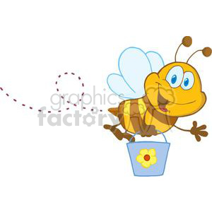 Cartoon Character Bee Flying Bucket clipart. Royalty-free image # 379303