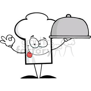 Cartoon Chefs Hat Character Serving Food In A Sliver Platter