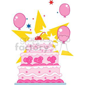 Elegant Pink ThreeTiered Wedding Cake With Balloons And Stars clipart. Royalty-free image # 379338
