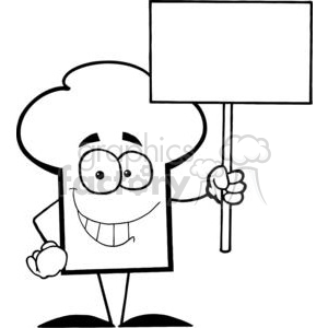 Cartoon Chefs Hat Character Holding A Blank White Sign clipart. Commercial use image # 379343