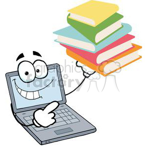 Laptop Cartoon Character Displays Pile Of Books clipart. Royalty-free image # 379358
