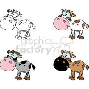Cartoon Character Calf Different Color Set clipart. Commercial use image # 379363