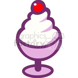 cartoon ice cream sundae with a cherry