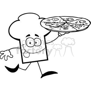 Cartoon Chefs Hat Character Holding And Running With Pizza clipart. Commercial use image # 379373