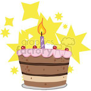 Birthday Cake With One Candle Lit And Stars clipart. Commercial use image # 379378