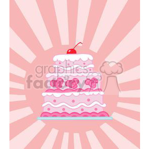 Elegant Pink Three Tiered Wedding Cake clipart. Royalty-free image # 379383