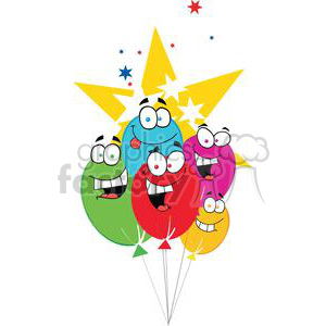 Happy Birthday Baloons With Stars clipart. Royalty-free image # 379388