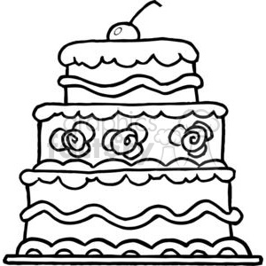 Elegant Three Tiered Wedding Cake clipart. Commercial use image # 379398