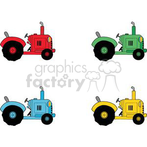 Vintage Farm Tractors Set clipart. Royalty-free image # 379408