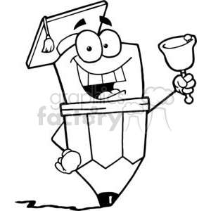 Graduate Pencil Cartoon Character Ringing A Bell clipart. Commercial use image # 379418