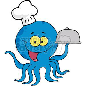 Octopus Chef Serving Food In A Sliver Platter clipart. Commercial use image # 379428