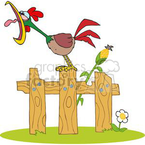 Rooster sitting a fence crowing clipart. Commercial use image # 379443