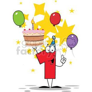 Red number one holding a birthday cake with 1 candle lit stars balloons clipart. Royalty-free image # 379448