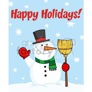 Holiday Greetings With Snowman clipart. Royalty-free image # 379458